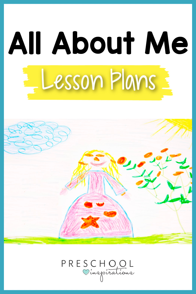 pinnable image of a child's self portrait and the text all about me lesson plans