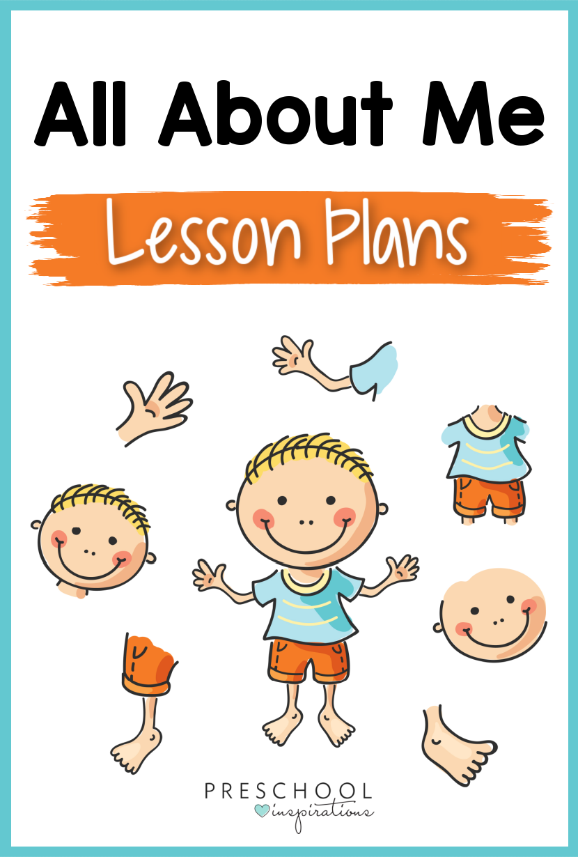 cartoon image of a boy showing his different body parts with the text all about me lesson planbs