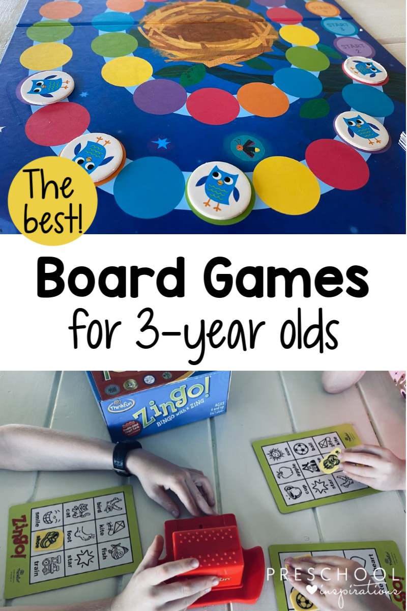 pinnable image of two board games being played with the text the best board games for 3-year olds