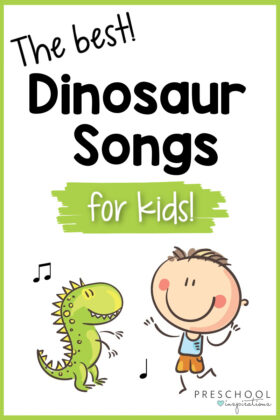 pinnable image of a young boy dancing with a toy dinosaur and the text the best dinosaur songs for kids