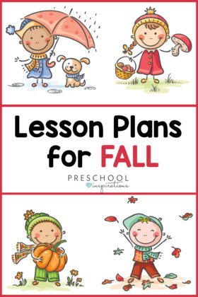 pinnable image of four kids doing fall activities with the text lesson plans for fall