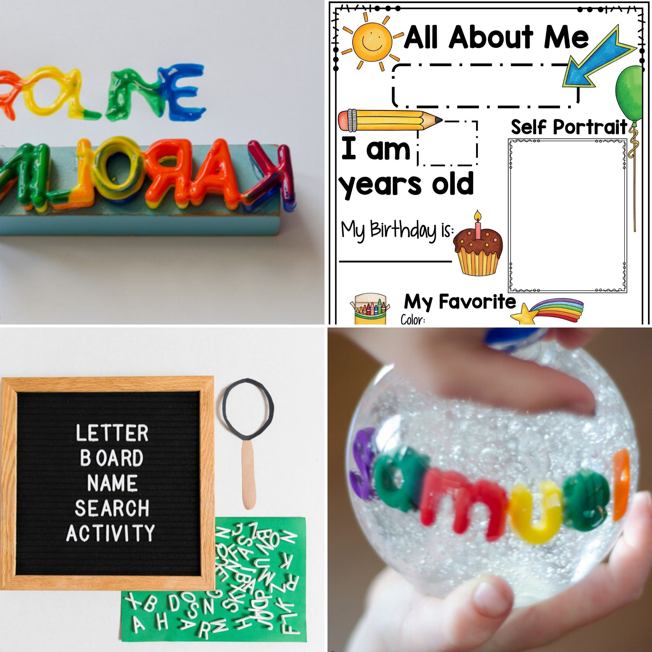 collage of four activities that can be done during an all about me theme