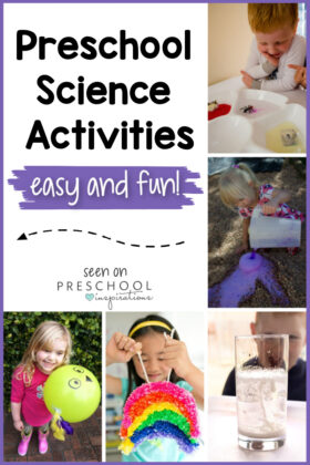collage of 5 preschoolers each doing a science activity with the text preschool science activities easy and fun