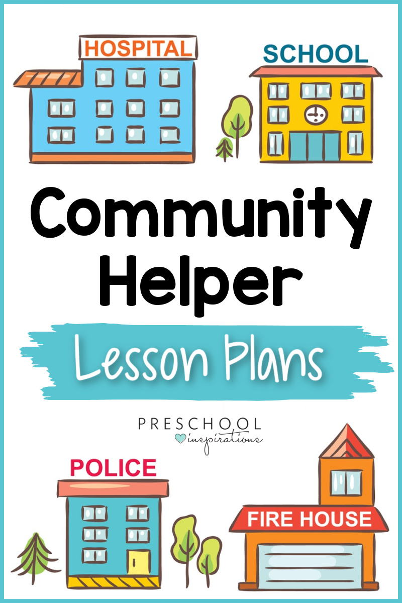 pinnable image of four cartoon community buildings with the text community helper lesson plans
