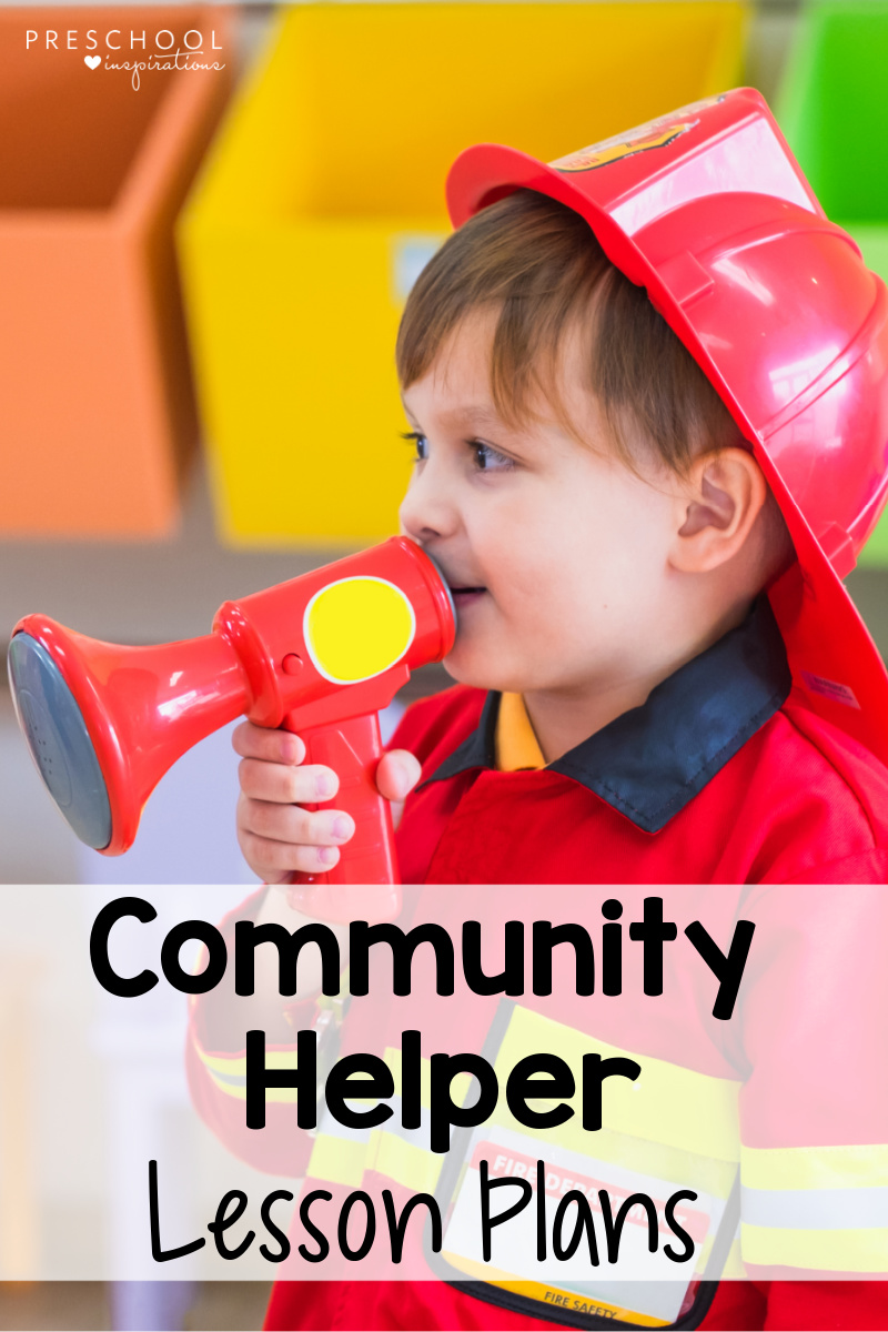 pinnable image of a young boy dressed in a firefighter costume with the text community helper lesson plans