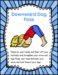 printable animal yoga card featuring the downward dog position