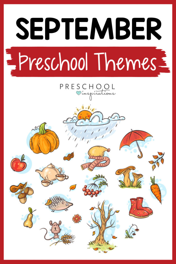pinnable image of lots of fall clip art with the text september preschool themes