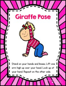 Giraffe yoga pose description with clipart