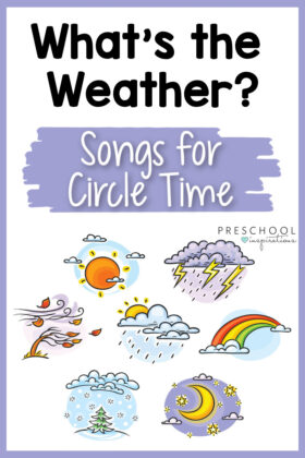 pinnable image with cartoons of different weather types with the text what's the weather songs for circle time