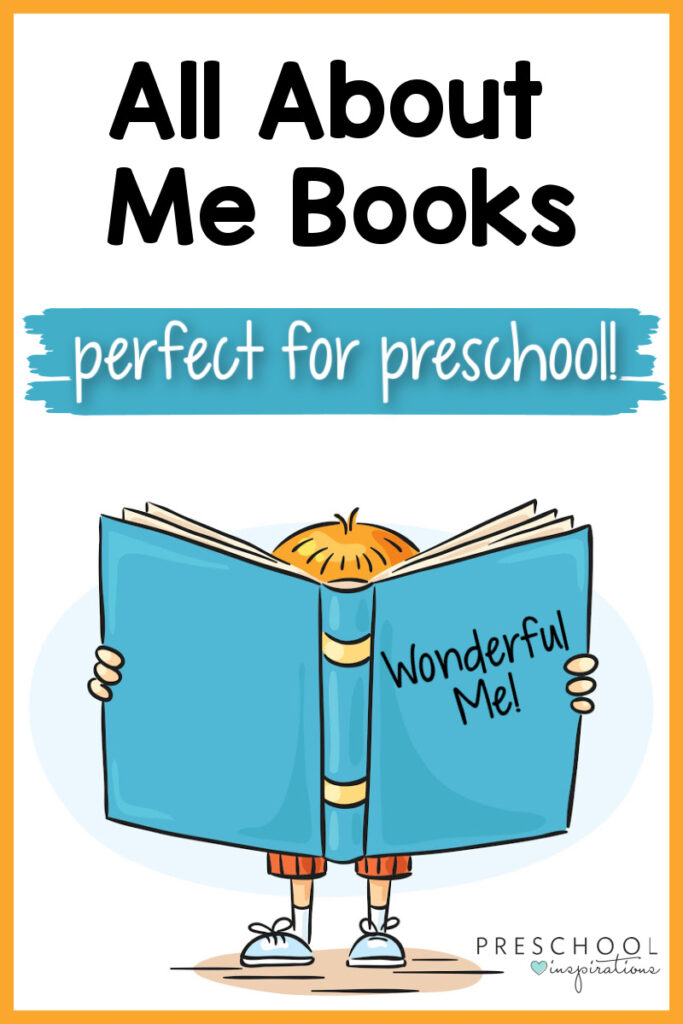 pinnable image of a cartoon boy with a huge book and the text all about me books perfect for preschool