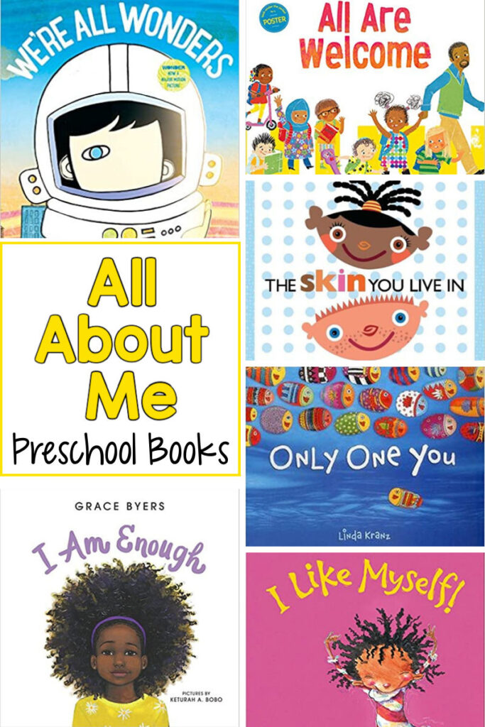 pinnable image of the covers of 6 different books described below with the text All About Me Preschool Books