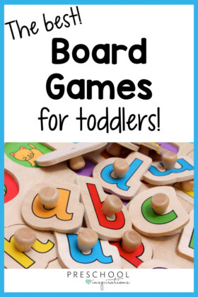 picture of large alphabet puzzle pieces with the text the best board games for toddlers
