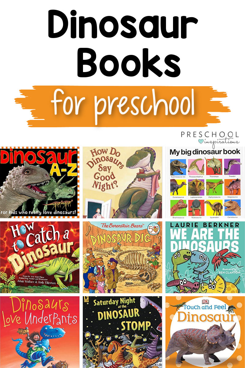 pinnable image of 9 book covers with the text dinosaur books for preschool