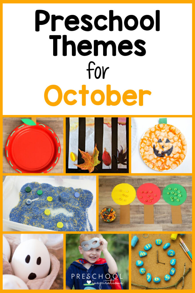 collage of eight different preschool activities for October with the text Preschool Themes for October