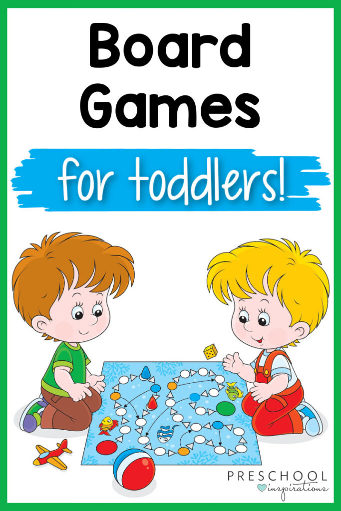 cartoon image of two toddler boys playing a board game and the text board games for toddlers