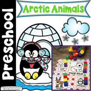 picture of several preschool winter printables with the text preschool arctic animals