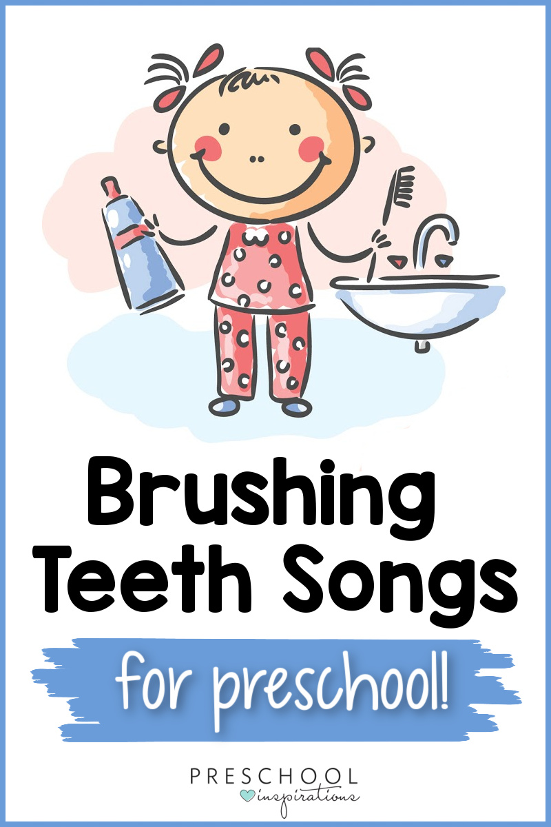 a cartoon image of a girl in her pajamas holding a toothpaste and toothbrush standing next to a sink with the text brushing teeth songs for preschool