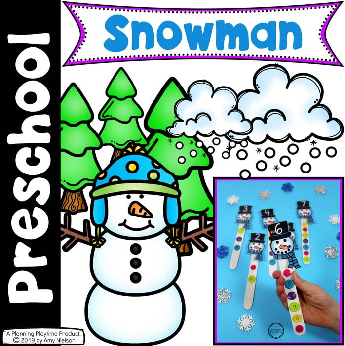 image of printable snowmen with a cartoon snowman and snow and the text preschool snowman