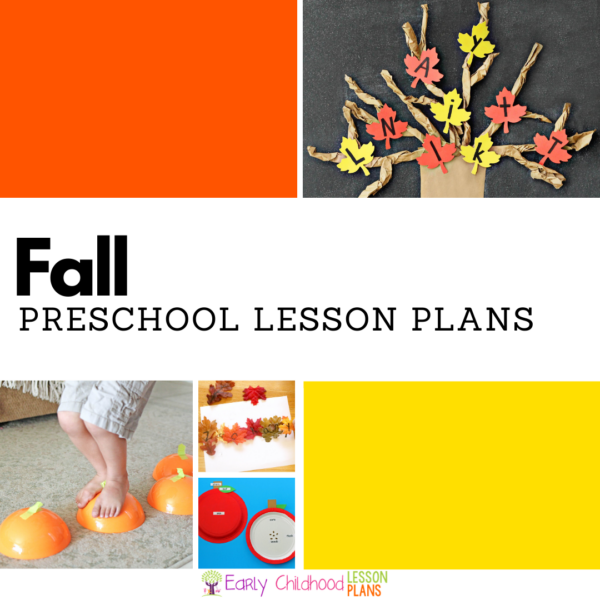 collage of a fall tree craft with letters as leaves, a kid jumping across pumpkins, and two other fall preschool activities with the text, Fall: Preschool Lesson Plans