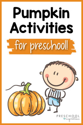 A clip art preschool boy standing by a large pumpkin with text that reads, pumpkin activities for preschool.