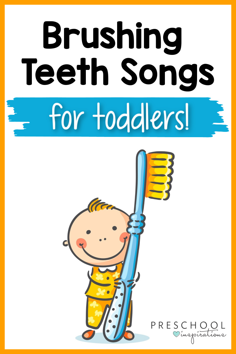 cartoon image of a toddler boy in his pajamas holding a huge toothbrush with the text brushing teeth songs for toddlers