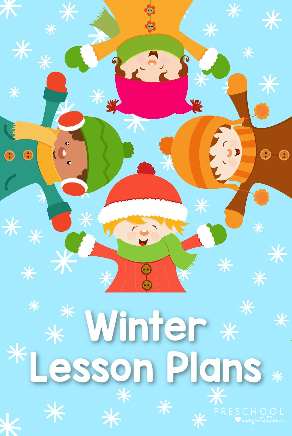pinnable image of four cartoon kids lying in the snow with the text Winter Lesson Plans