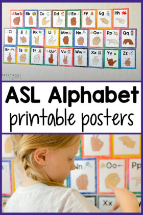 a set of sign language printable alphabet cards and a young girl trying to make a letter with the text, 'asl alphabet printable posters'
