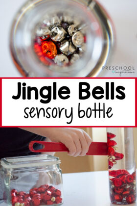 a bunch of jingle bells in the bottom of a water bottle, and another image of a completed magnetic jingle bells bottle with the text, 'jingle bells sensory bottle.'