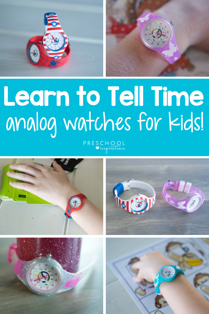 six different images of kids' watches with the text 'learn to tell time analog watches for kids'