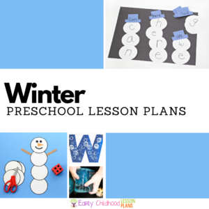 collage of three preschool winter learning activities with the text, 'winter preschool lesson plans'