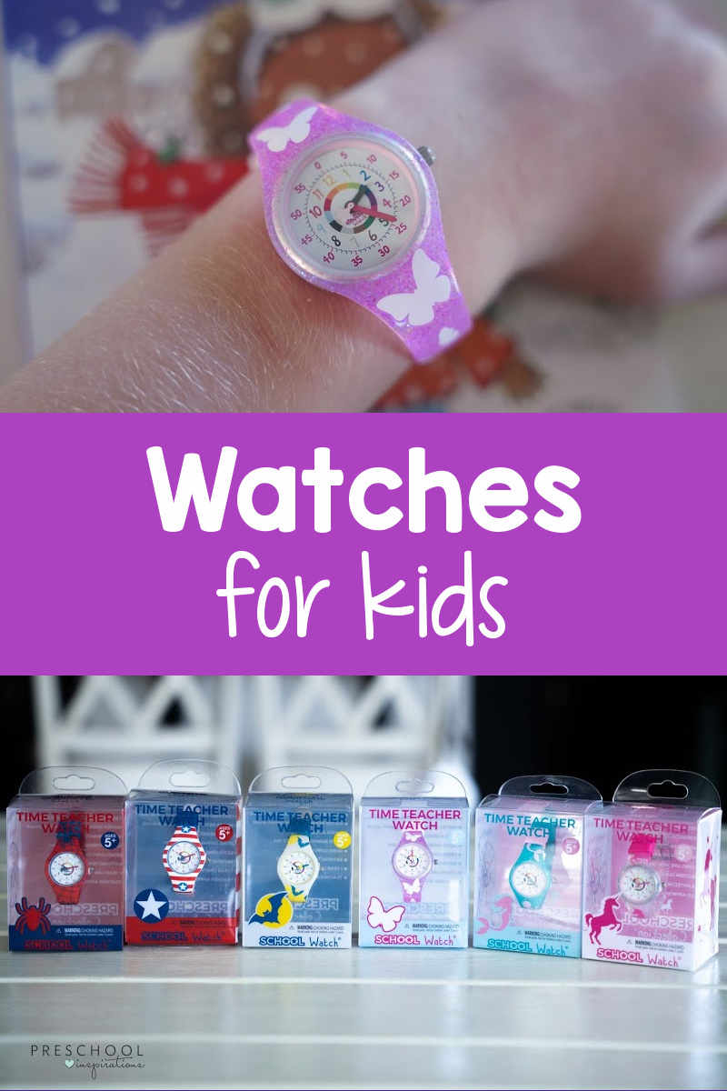 a butterfly watch up close and six analog watches for kids in boxes with the text 'watches for kids'