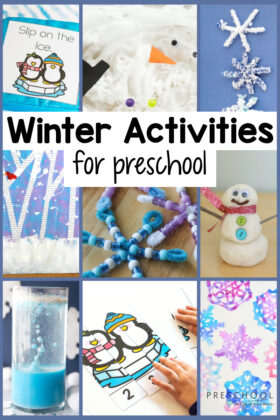 collage of nine different preschool activities for winter with the text, 'winter activities for preschool'