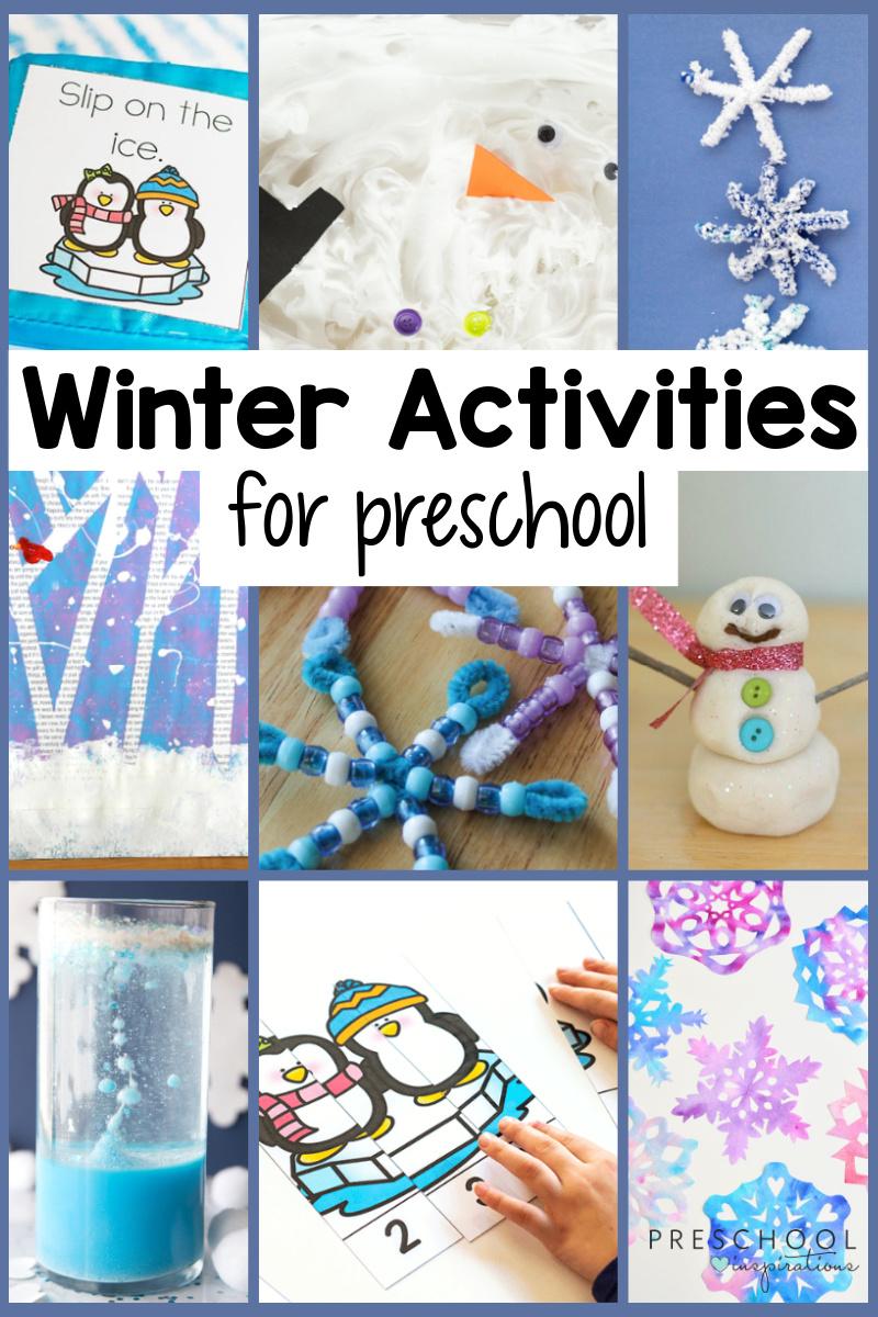 collage of nine different preschool activities for winter with the text, 'winter activities for preschool'
