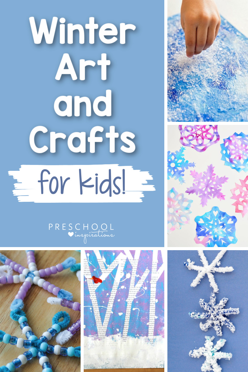 collage of five different winter art projects with the text, 'winter art and crafts for kids!'