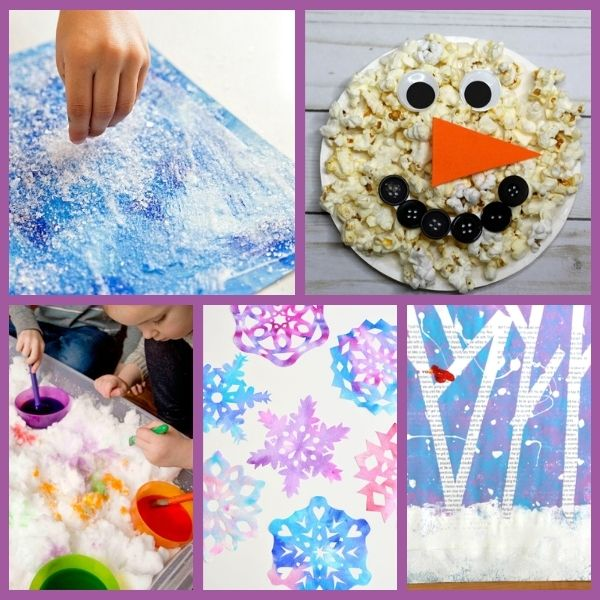 five different arts and crafts preschool winter projects
