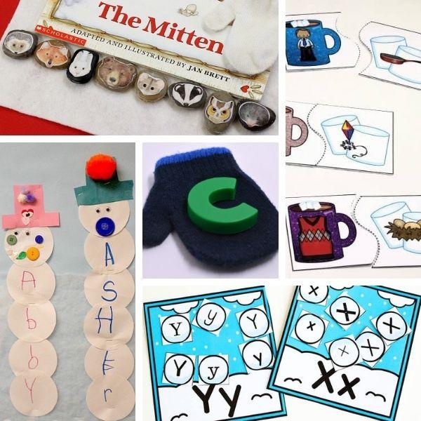 five different winter alphabet and literacy activities for preschool