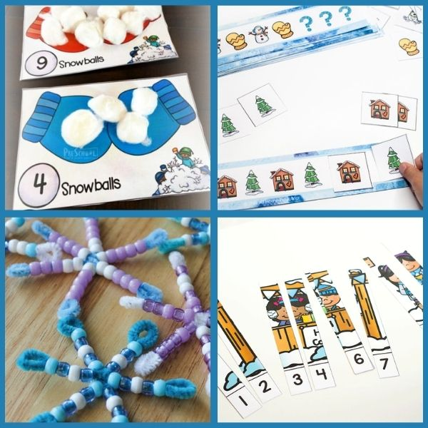 three different printable math activities for preschool and one snowflake craft