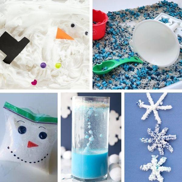 five different science or sensory activities for preschool