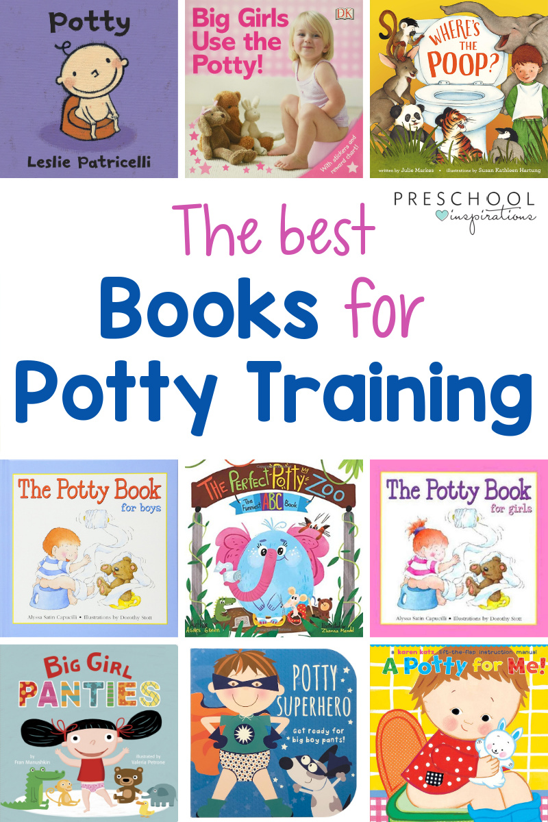 cover images of nine different potty training books for toddlers with the text, 'the best books for potty training'