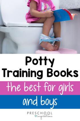 a picture of a toddler sitting on the potty reading a book with the text, 'potty training books the best for girls and boys'