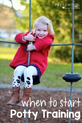 a young girl in a red coat hanging on a playground with the text, 'when to start potty training'