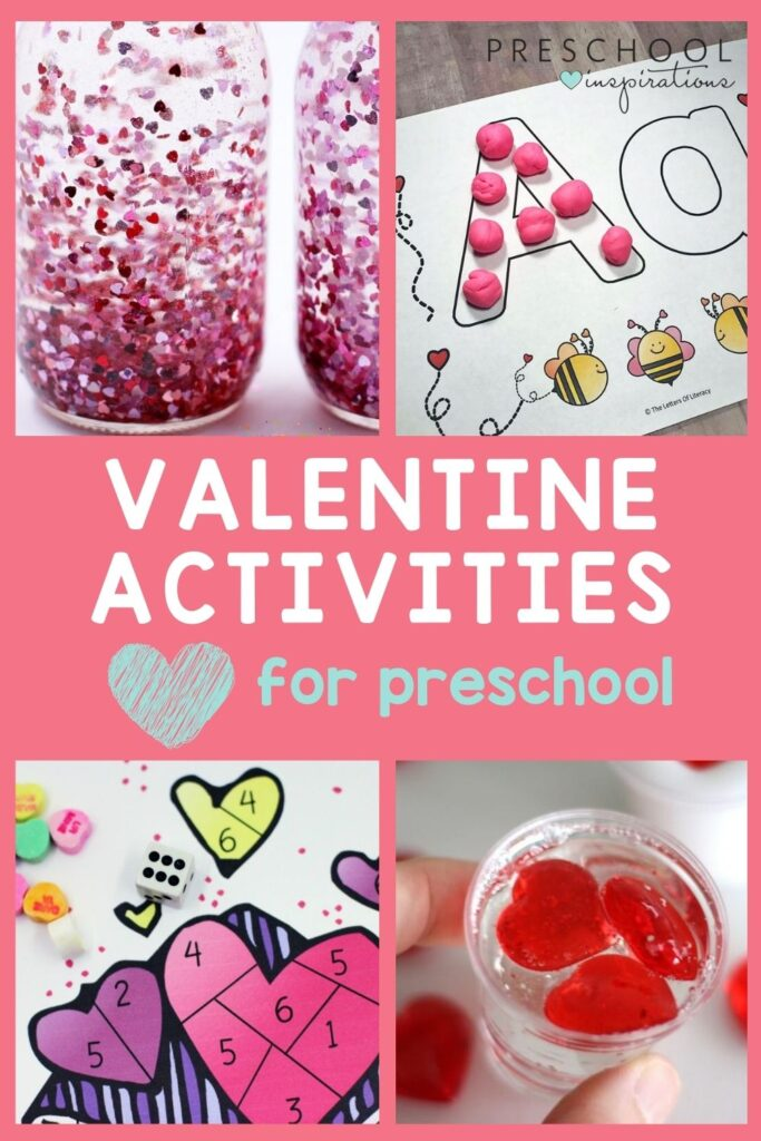 a collage of four different Valentine's Day preschool activities with the text, 'Valentine Activities for preschool'