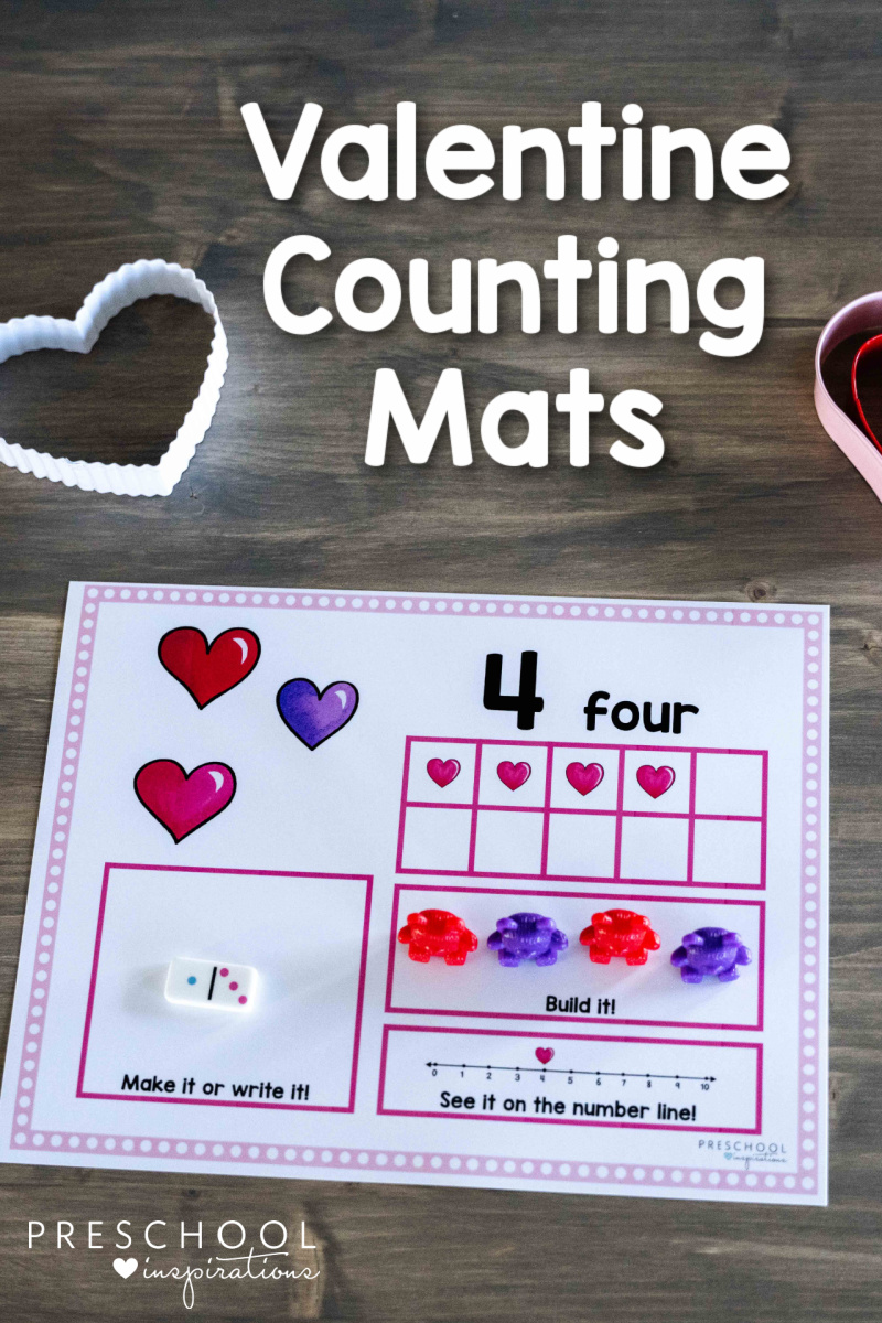 close up of a valentine counting mat for preschool showing the number four and the text 'valentine counting mats'