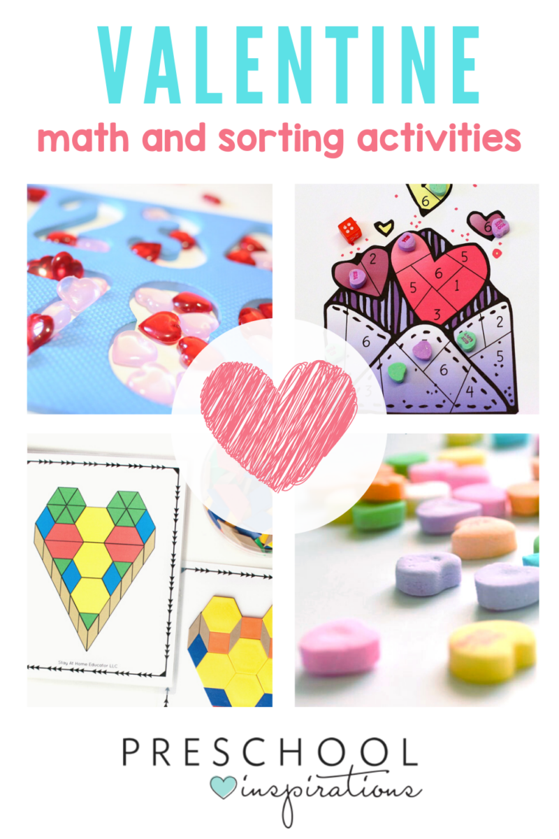 collage of Valentine's Day preschool math and counting activities with the text, 'Valentine math and sorting activities'