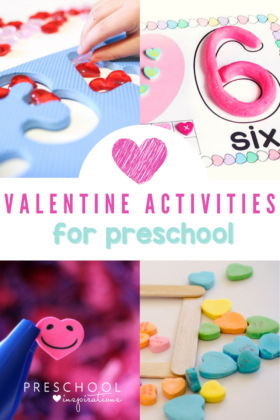 collage of four Valentine's Day learning activities for preschool with the text, 'Valentine Activities for preschool'