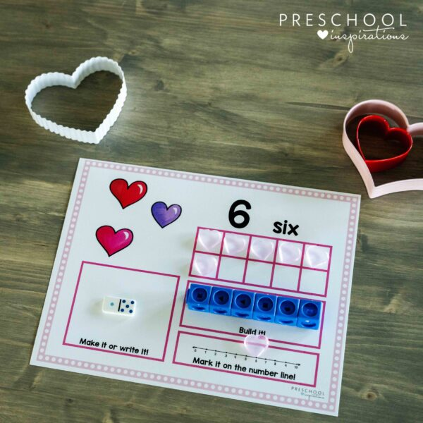 Valentine's Day counting mat for pre-K showing the number six