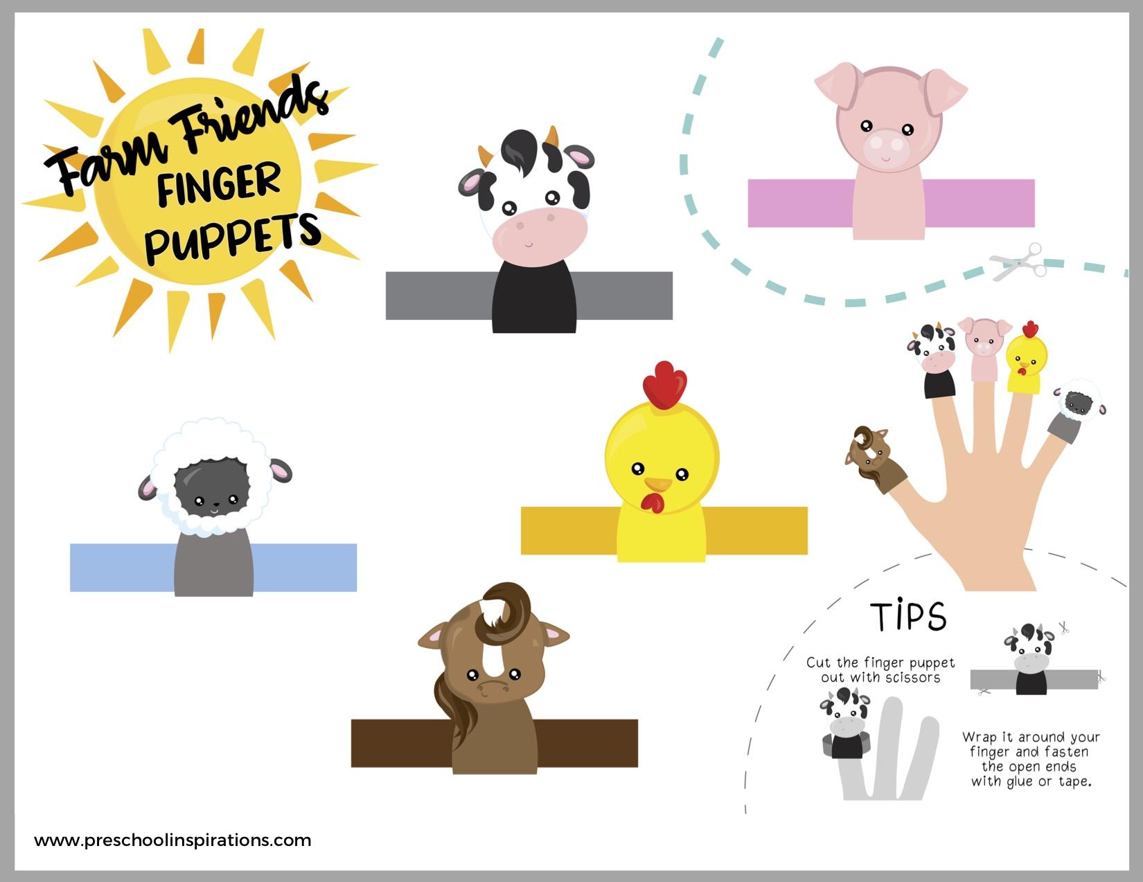 farm animal finger puppets free printable