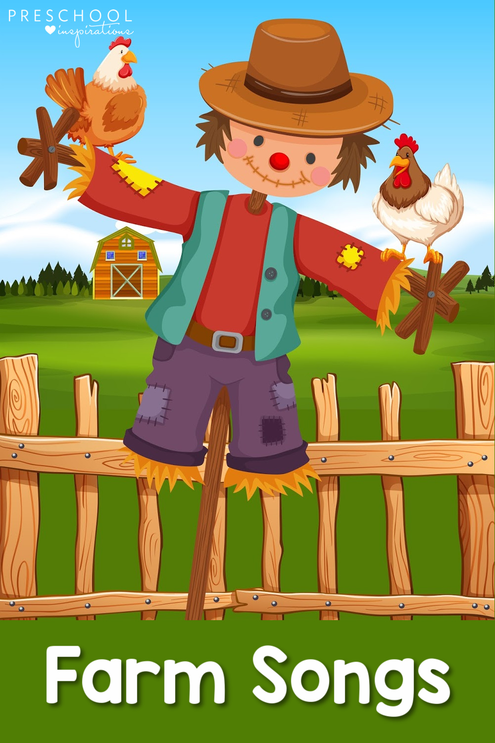 pinnable image of a scarecrow and chickens in front of a farm with the text farm songs