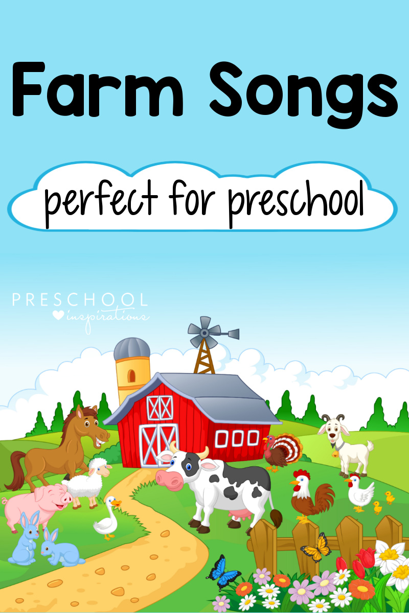 pinnable image of a cartoon farm with animals and the text 'farm songs perfect for preschool'