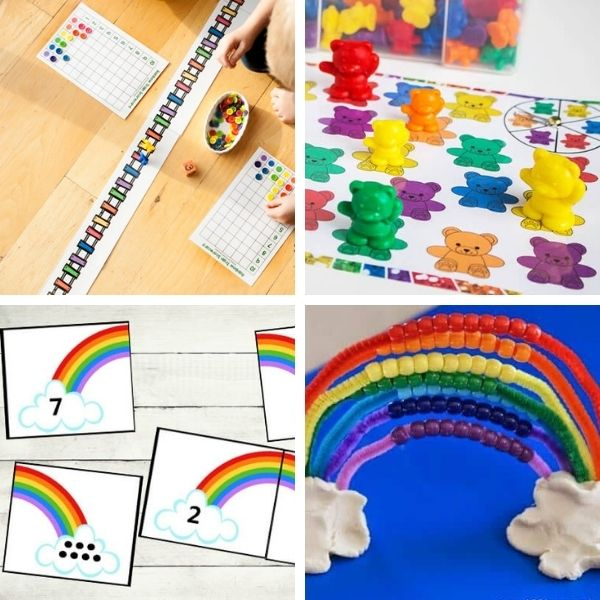 collage of four different preschool math activities that use rainbows